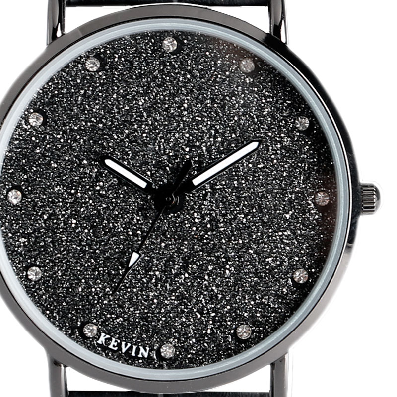 KEVIN Women Wrist Watch Simple Crystal Glitter Dial Casual Minimalist Quartz Leather Strap Dress Watch Gift 2017 New Arrival a suit of trendy rhinestone hollow out flowers necklace bracelet ring and earrings for women