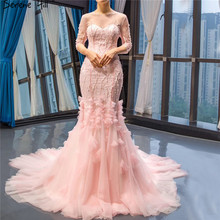 SERENE HILL Pink O-Neck Dinner Evening Dresses 2019 Mermaid