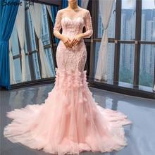 SERENE HILL Pink O-Neck Dinner Evening Dresses 2019 Mermaid