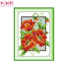 Poppy flowers chinese printed patterns embroidery packs cross stitch counting dmc Handmade cross-stitch sets home decor