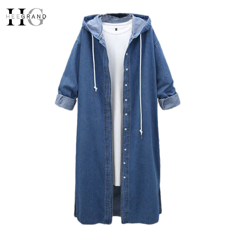 HEE GRAND Hooded Denim Women Long   Trench   Coats Plus Size 4XL Autumn Jeans Coat Full Sleeve Single Breasted Outwear WWF906