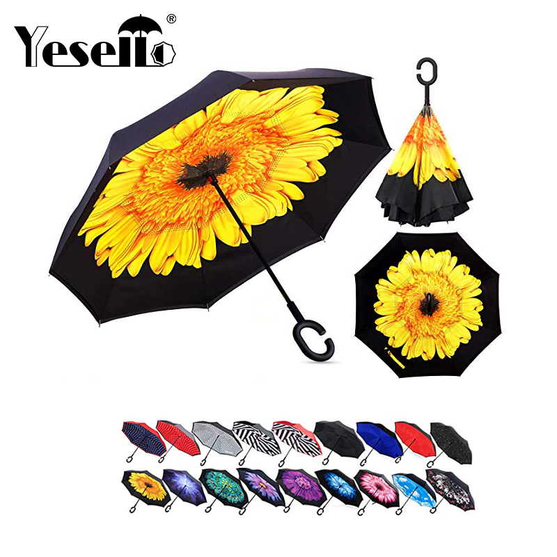 Yesello C Griff Dach Invertiert Falten Reverse Regenschirm Doppel Schicht Invertiert Winddicht Regen Auto Regenschirme Für Frauen
