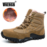 VKERGB New Men'S Outdoor Cotton Shoes New Snow Boots Men'S Plus Velvet Casual Shoes Winter Thick Waterproof Shoes Military Boots