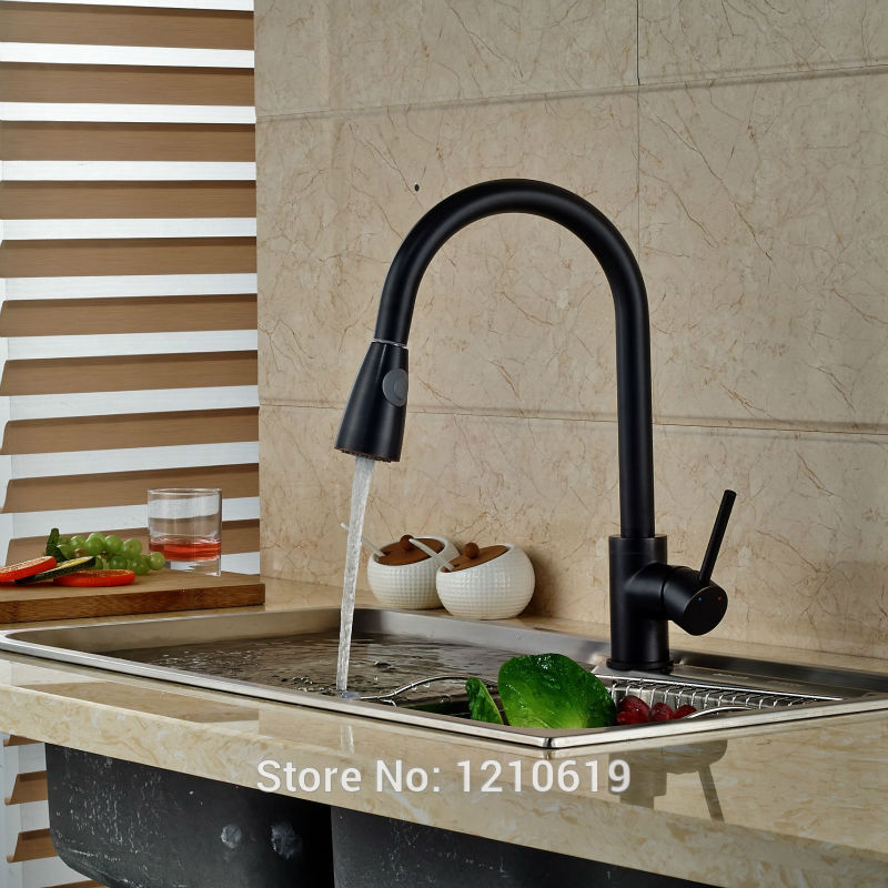 Newly Oil-rubbed Bronze Kitchen Sink Faucet Mixer Tap Pull Down Basin Single Handle Hole