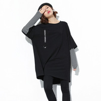 2018 Women Autumn Fashion Long Tops Fake 2 Pieces T shirt Large Size Loose Streetwear Korean Style Plus Size Womens Clothing