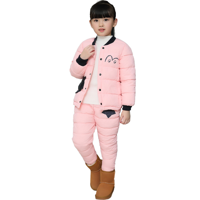 Girls Sport Suit for Winter Boy Down Coat Long Sleeve Sets Children Solid Hooded Cotton Thick Windbreaker Suit colorvalue winter double zipper running jacket women hooded fitness coat long sleeve sport yoga coat with pocket and thumb holes