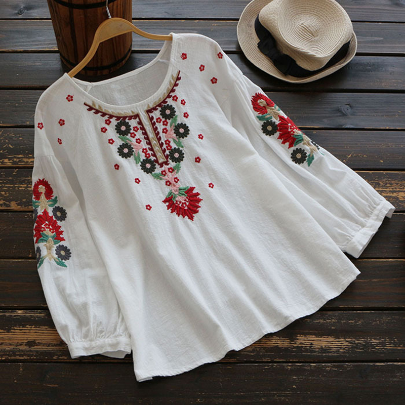 YSMILE Y Sweet Exquisite Embroidery Floral Women Spring Shirt Casual Long Sleeve Round Neck Personality Blouse Girl Daily Tops