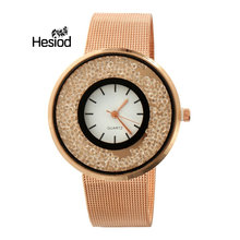 Hesiod Elegant Ladies Crystal Roman Numerals Gold Rose Gold Silver Color Mesh Band Business Watch Women New Design(China)