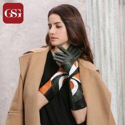 GSG новые модные женские длинные перчатки из натуральной кожи с лоскутными вставками из овечьей кожи разноцветные геометрические узоры зимн...