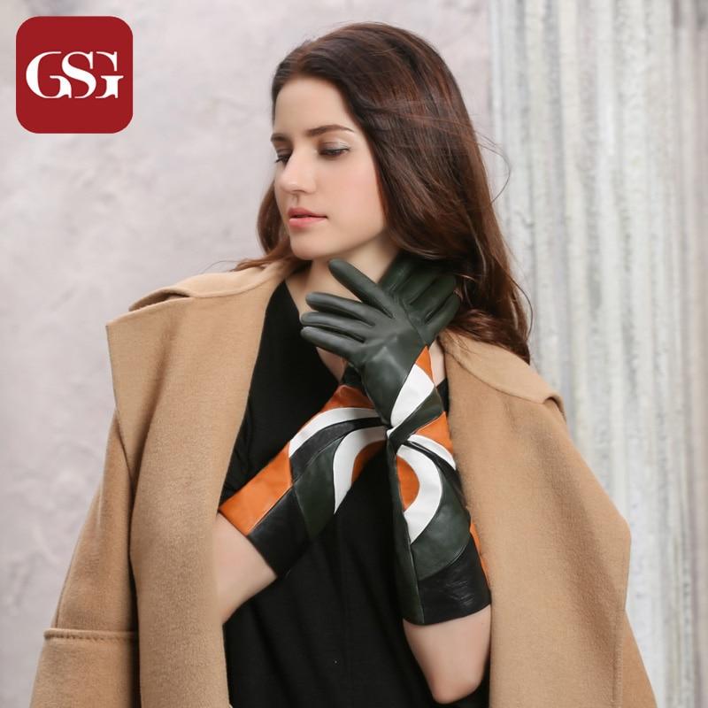GSG New Fashion Дамски естествени кожени дълги ръкавици с пачуърк агнешка кожа многоцветни геометрични модели зимни термични ръкавици
