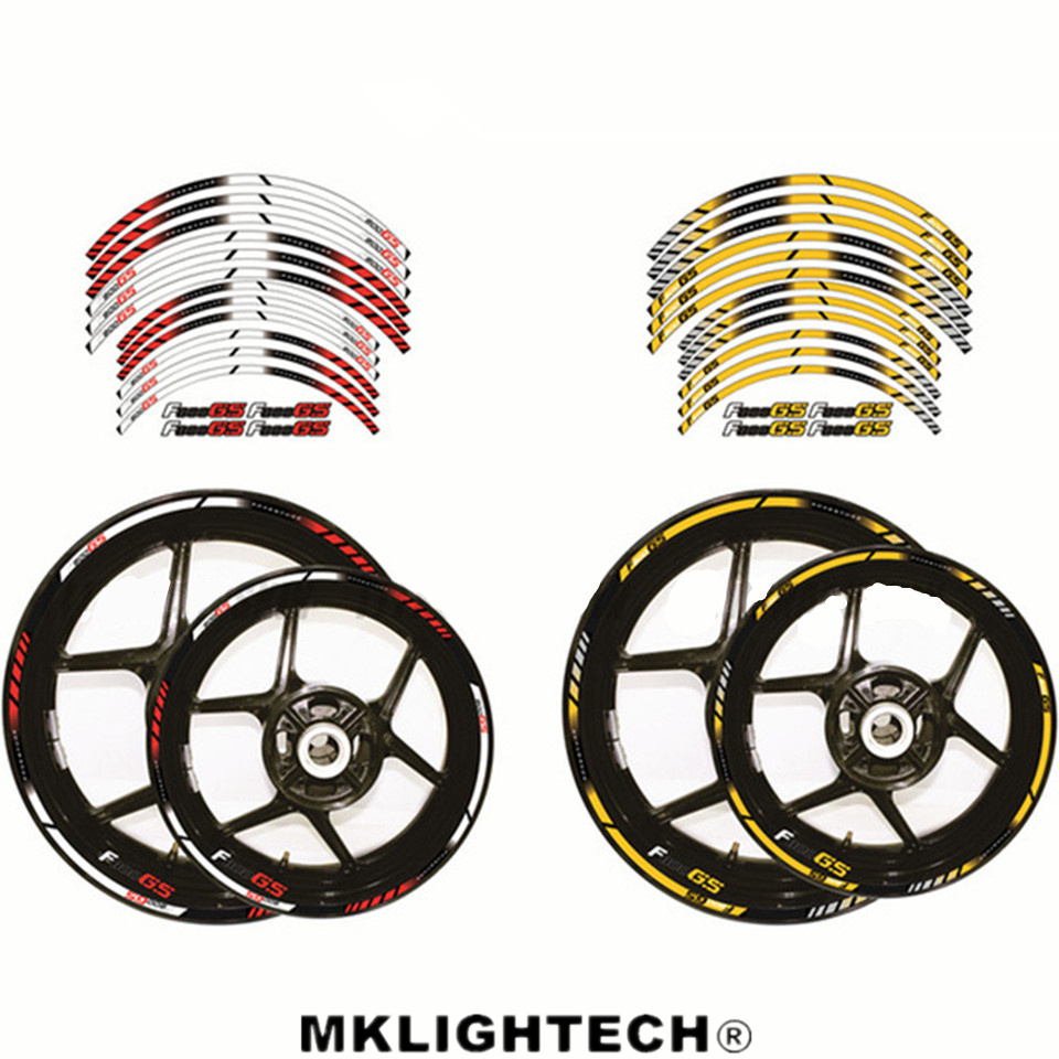 12 X F800 GS Thick Edge Outer Rim Sticker Stripe Wheel Decals Motorcycle FIT BMW F800GS ADVENTURE in Decals Stickers from Automobiles Motorcycles
