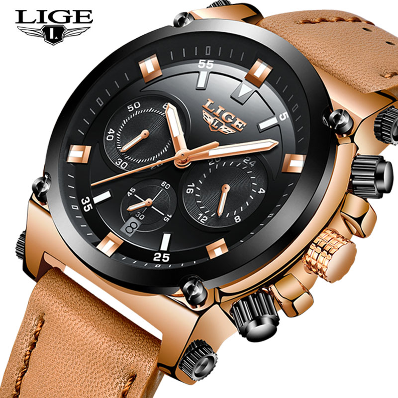 LIGE Top Luxury Brand Analog Quartz Watch Men Leather Waterproof Sports Watches Fashion Business Male Watches Relogio Masculino