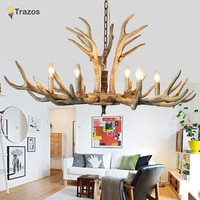 Candle Antler Chandelier American Retro Resin Deer Horn Lamps Home Decoration Lighting E14