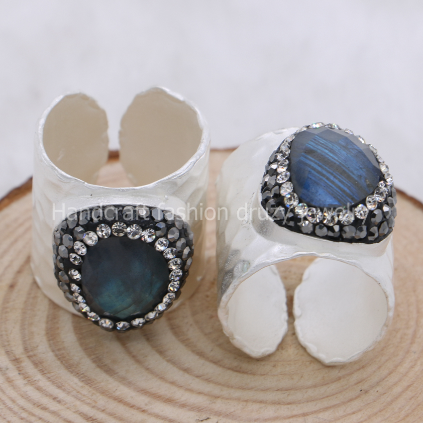 Natural labradorite druzy bang rings natural stone ring pave cz handcrafted gems stone jewelry silver plated fashion jewelry 361 Ямча