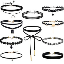 Jewdy 10 PCS/Set Choker Necklaces Gothic Tattoo Black Lace Leather Velvet Collier Women Collar Femme Chocker Jewellery 90S Punk(China)