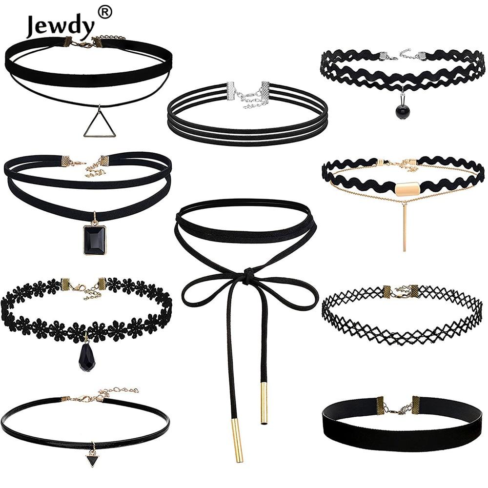 Jewdy 10 PCS/Set Choker Necklaces Gothic Tattoo Black Lace Leather Velvet Collier Women Collar Femme Chocker Jewellery 90S Punk