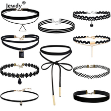 Jewdy 10 PCS/Set Choker Necklaces Gothic Tattoo Black Lace Leather Velvet Collier Women Collar Femme Chocker Jewellery 90S Punk
