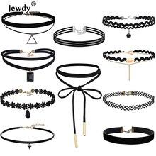 Jewdy 10 PCS/Set Choker Necklaces Gothic Tattoo Black Lace Leather Velvet Collier Women Co