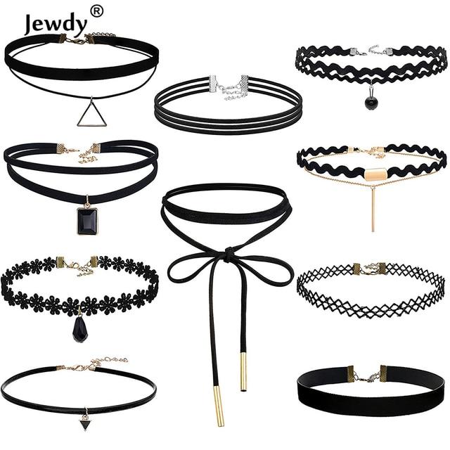 Jewdy 10 PCS/Set Choker Necklaces Gothic Tattoo Black Lace Leather Velvet Collie