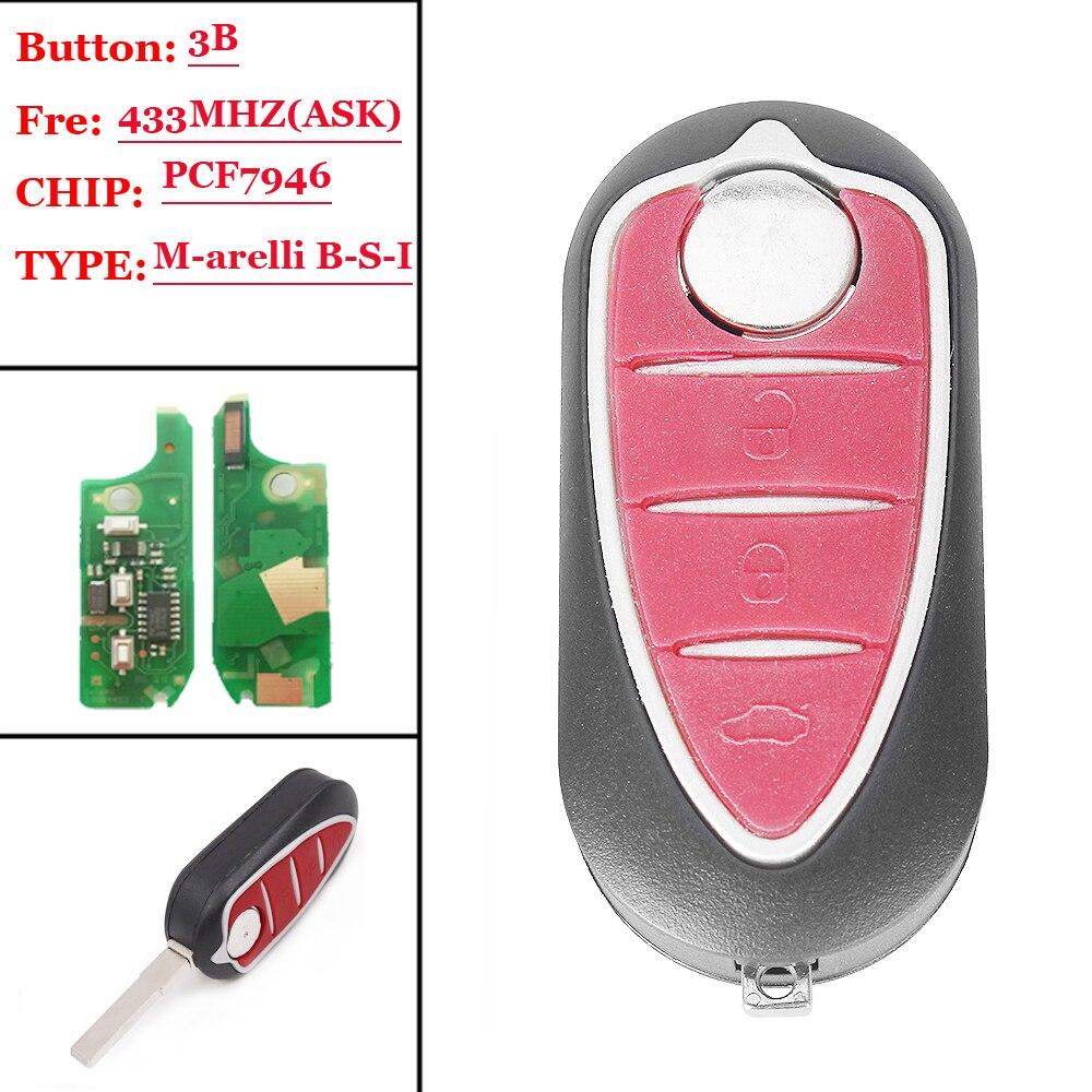 1pcs 3 Button Remote Flip Key For Alfa Romeo Giulietta 2010 Marelli Bsi 433mhz With Pcf7946 Chip 71765806 No Mark Professional Design Confident