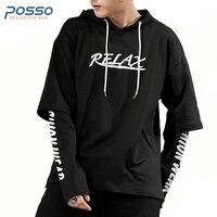 2017 Fashion Men Hooded Sweatshirts Hip Hop Shirt Men Large Size Casual Loose Hoody Autumn Male
