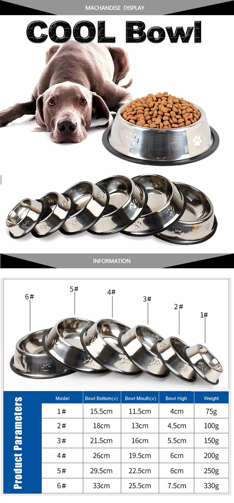 SUPREPET Stainless Steel Non-slip Feeding Bowl For Pets Anti-fall And Anti-bite Dog Bowl And Cat Anti-fall  Feeding Bowl 8