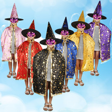 Wholesale Halloween Children Section Show Clothes Accessories Magician Cloak Woman Witch Five Stars