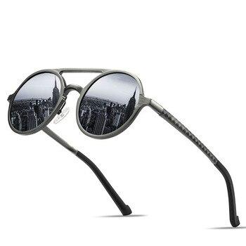 ブランドデザインサングラスメンズ偏光ヴィンテージラウンドフレーム太陽メガネアルミニウムマグネシウム合金駆動ミラー