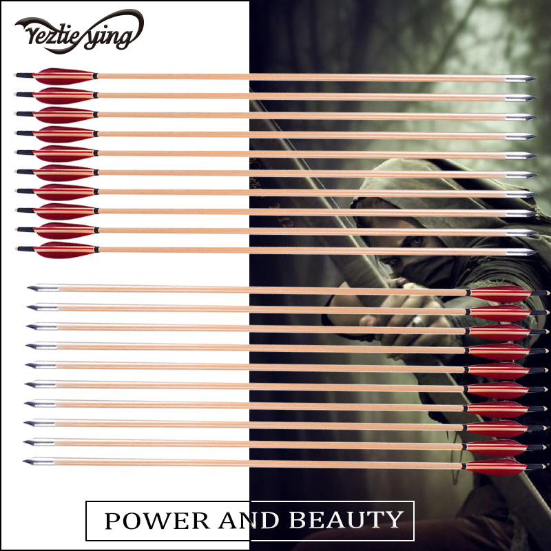 12pcs 31.5inch Archery Hunting Spine 500 Diameter 8.5cm Wooden Arrow with Red Turkey Feather Complex Bow Hunting and Shooting