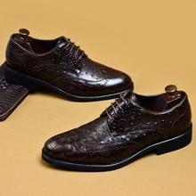 QYFCIOUFU New Ostrich Pattern Men Shoes Vintage British Cow Leather Formal Dress Shoes Brogue Wedding Banquet Shoes US 11.5