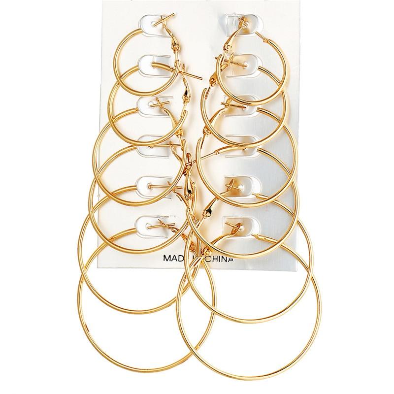 6 пар/компл. цвет серебристый, золотой большой круг обруч серьги клипсы с Brincos, можно носить с кольцо серьги комплект Комбинации для Для женщин свадебные подарок - Окраска металла: gold