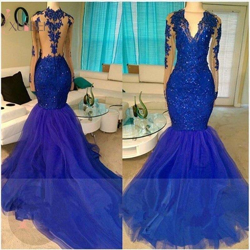 2019 Royal Blue Tulle Elegant Mermaid Long Prom Dresses Mesh Long Sleeve Sequined Prom Gown Vestido de festa longo New