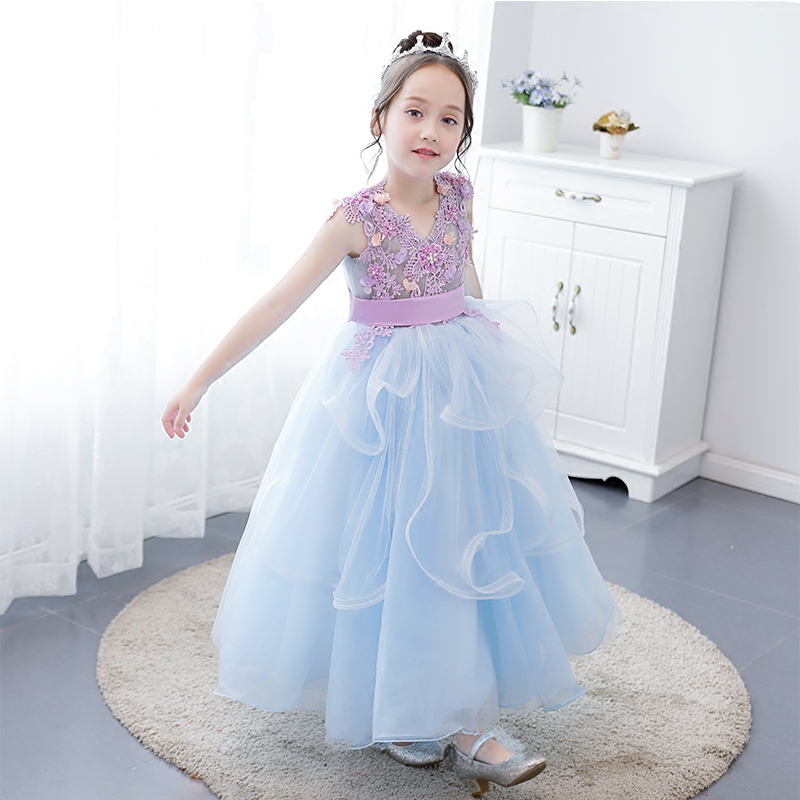 Children Girls Luxury Elegant Blue Flowers Birthday Evening Party Long Mesh Dress Kids Babies Wedding Party Model Show Dress music note party swing dress