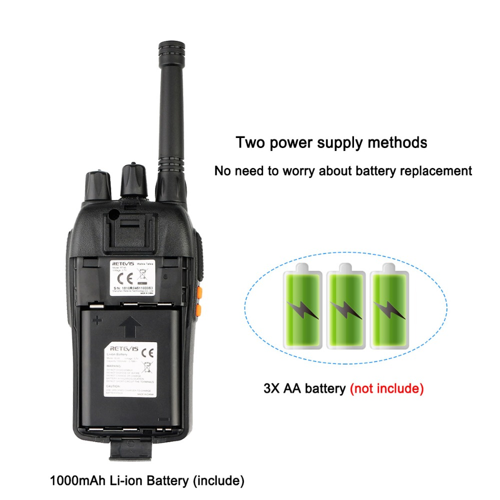 Image 5 - A Pair RETEVIS RT46 Walkie Talkie PMR Radio PMR446/FRS Portable Two Way Radio VOX Micro USB Charging  Li ion (or AA) Battery-in Walkie Talkie from Cellphones & Telecommunications