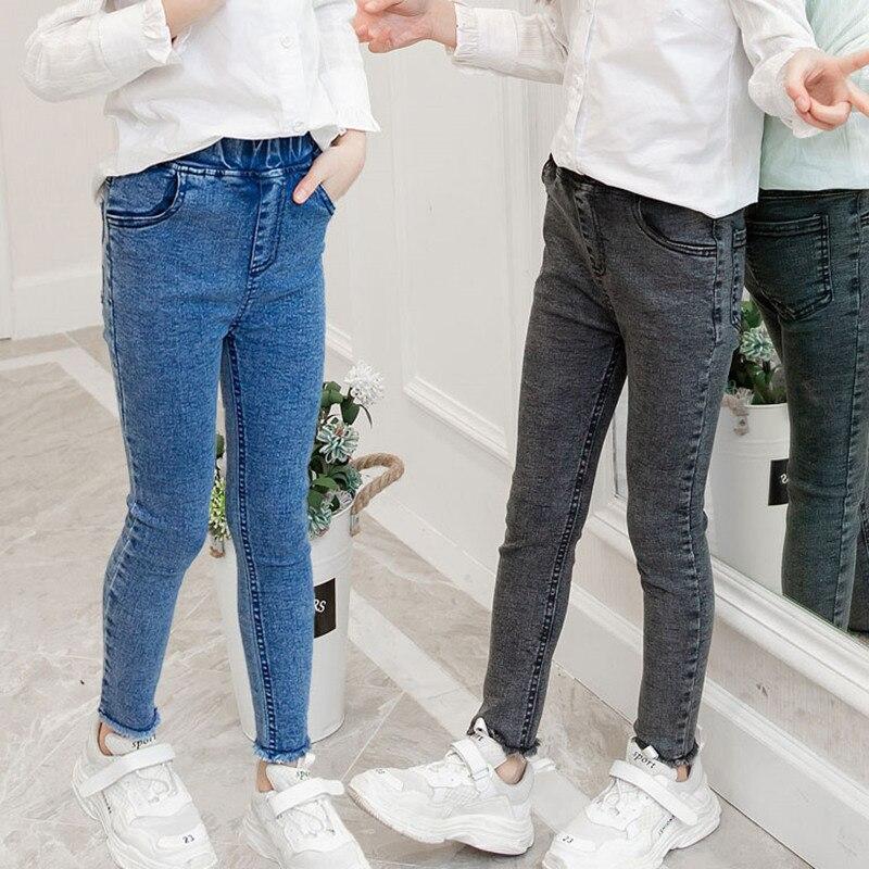 Girls Leggings New 2020 Autumn Kids Girl Jeans Blue Black Elastic Skinny Children Pencil Pants For 4 To 13 Years Denim Trousers