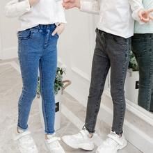 цена на Girls Leggings new 2020 autumn kids girl jeans blue black elastic skinny children pencil pants for 4 to 13 years denim trousers