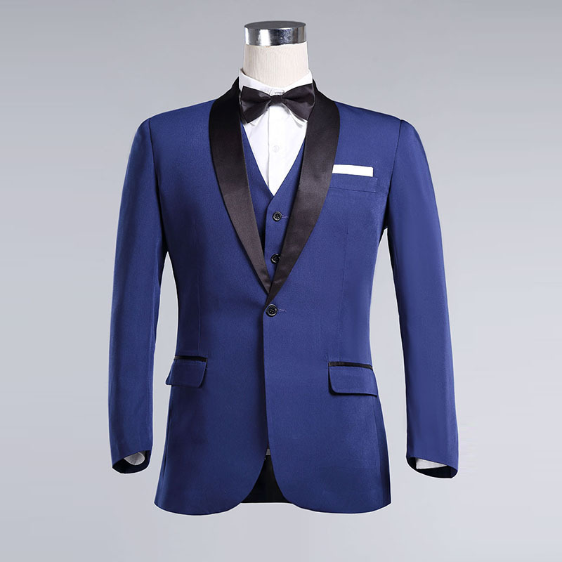 2015 Peak Lapel Royal Blue With Black Lapel Slim Fit Groom Tuxedos ...