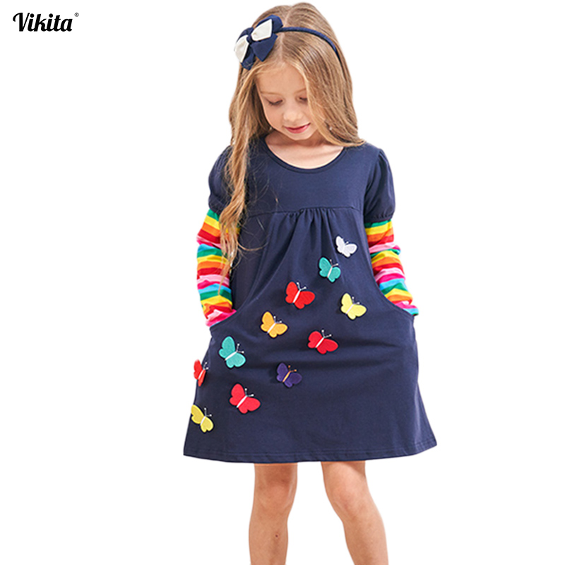 VIKITA Girl Dresses Baby Girls Dress Butterfly Rainbow Children Long Sleeve Clothes Girls Patchowrk Infant Vestidos 2-8Y LH5805 vikita brand new girl dresses 100% cotton girls butterfly cartoon dress toddlers summer short sleeve patchwork dresses sh4554