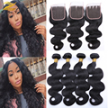Brazillian Body Wave With Closure 4 Bundles Brazilian Virgin Hair Body Wave With Closure 7a Grade Unprocessed Human Hair Weave