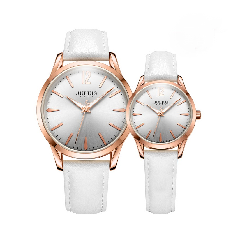 Julius Pair of Couple Quartz Wrist Watch Leather Band Lovers Watches Fashion Waterproof Men Women  Wristwatches relogioJA983