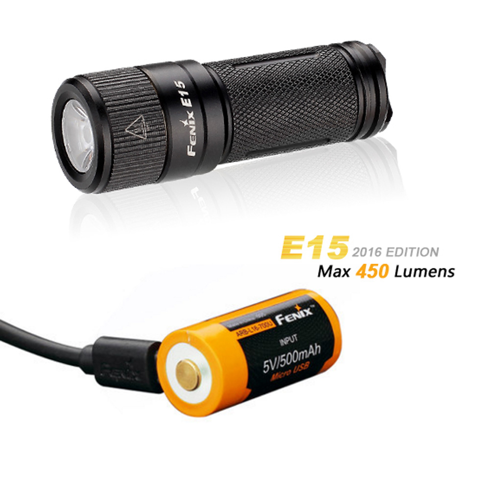 Fenix E15 450 lumens Rechargeable EDC Keychain LED Flashlight with USB Rechargeable 16340 Battery fenix hp25r 1000 lumen headlamp rechargeable led flashlight