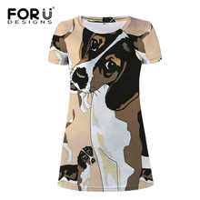 FORUDESIGNS Women Mini Dress Funny Beagle Printing Party Clothing Kawaii Puppy A-Line Females Cute Summer Dresses for Teen Girls