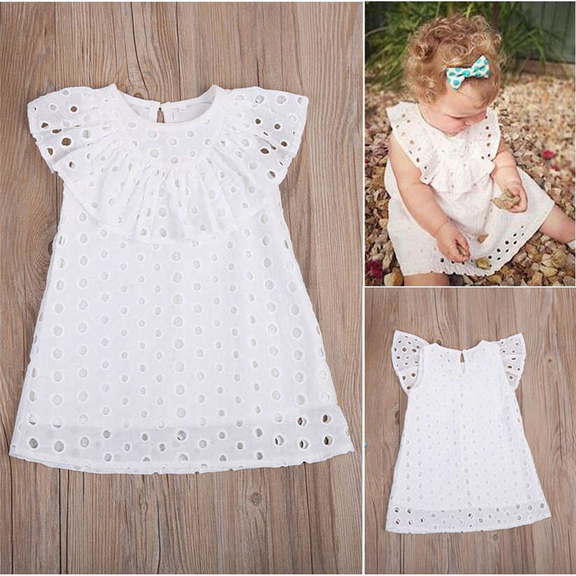 2017 Summer Grils' Dresses Fashion Cute Toddler Kids Baby Girls Lace Hollow Out Dress Sundress Outfits Clothes Dress P3 стоимость