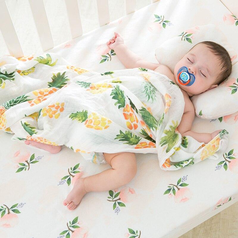 Baby Blanket Muslin Swaddle Wraps 100 % Cotton Bamboo Fiber Baby Blankets Newborn Bamboo Muslin Blankets 115x120cm