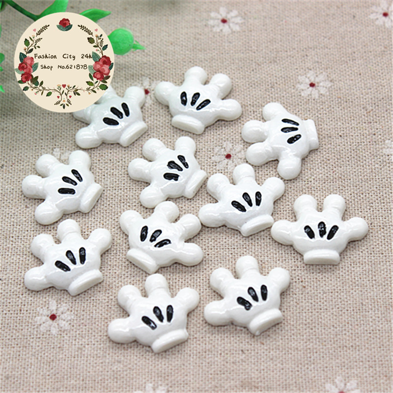10pcs Cute Mickey Hands Resin Flatback Cabochon DIY Hair Bow Center Scrapbooking,22*27mm