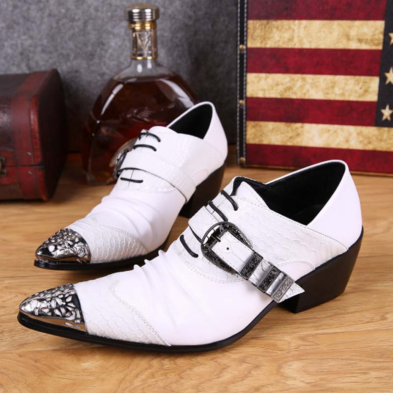 цена white genuine leather shoes with fashion buckle handmade men oxfords wedding party dress shoes men's high heels pointed toe shoe