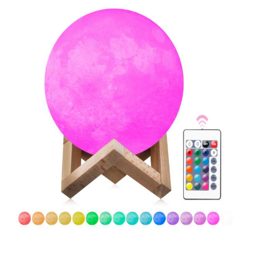 16 Colors 3D Print Moon Lamp Rechargeable LED Night Light Color Change Touch Switch Moon Light For Bedroom Home Decor