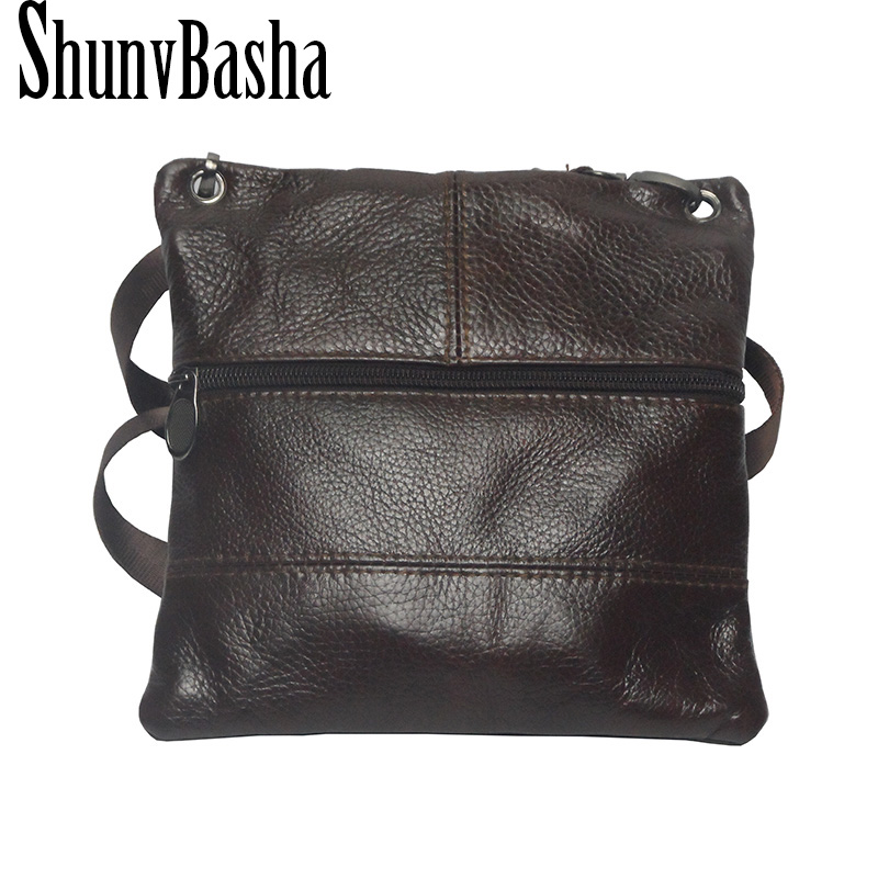 ShunvBasha 2017 New Brand Genuine Leather Men messenger Bag Vintage Cowhide Crossbody Bags for man bolso shoulder bags mens