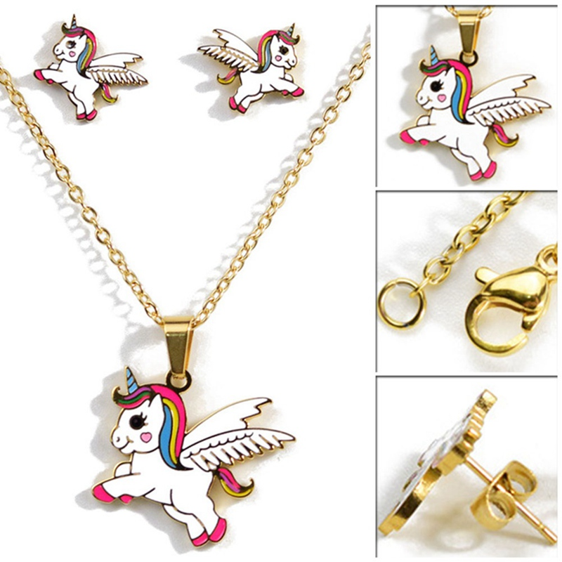 100% Quality Cartoon Cute Pink Horse Unicorn/dog/cat Design Enamel Gold Color Necklaces Fashion Jewelry Kids Gift Sieraden A Complete Range Of Specifications