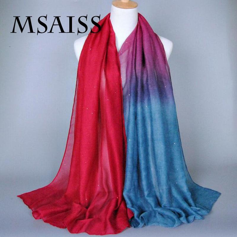 MSAISS 180*90CM Women Scarf Bali Shawl Contrast Color Starry Sky Muslim Women Spring Headscarves